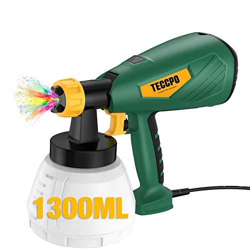 Pistolet à Peinture Électrique,TECCPO 500W Pulvérisateur Peinture,Réservoir 1300ml,Débit Réglable à 800 ml/min,4 Tailles de Buse (1.3/1.8/1.8/2.6 mm),3 Modèles de Pulvérisation,Technologie HVLP