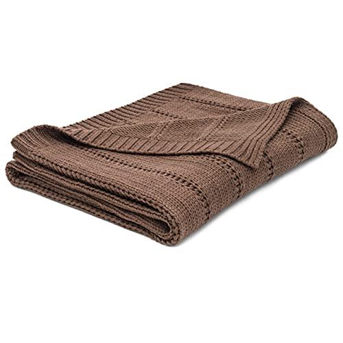 Zopfstrick-Überwurf, strukturiert, einfarbig, weich, gemütlich, 127 x 152 cm, für Sofa, Stuhl, Couch, Bett, Überwurf, Decke (braun)