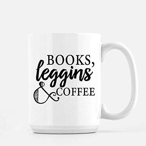 Bücher, Leggings und Kaffee, Buchblogger, Buchliebhaber-Zitatbecher, kundenspezifischer Becher, Buchwurm, Buch-Nerd, Kaffeetasse, Teetasse, Geschenk für sie, Mutter Gif, 11 Unzen Keramik-KaffeetasseTe