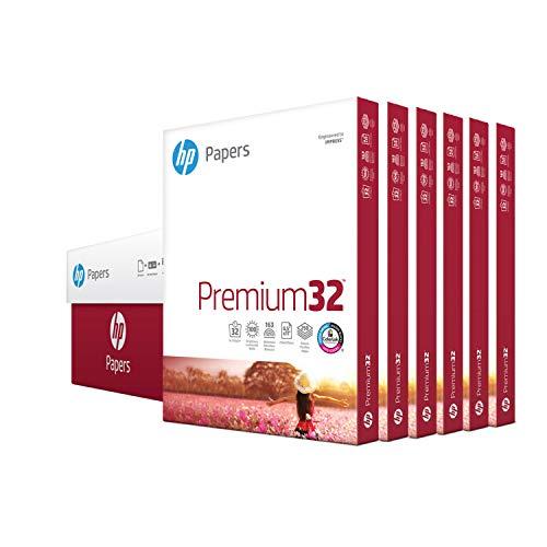 HP Papers Printer Paper, Premium32, 8.5x11, Letter, 32lb Paper, 100 Bright - 6 Packs / 1,500 Sheets - Presentation Paper (113500C)