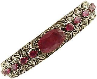 Bracciale Oro Rosa e Argento, Diamanti e Rubini