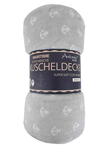 Maritime Kuscheldecke mit Anker grau - Wohndecke extra Weich & Warm Couchdecke Flauschige Decke Sofadecke Tagesdecke Mikrofaser Fleecedecke Bettüberwurf Picknickdecke