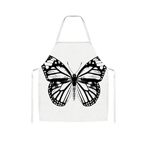 YYone Monarch Butterfly Vintage Butterfly Black and White Funny White Cooking Unisex Apron