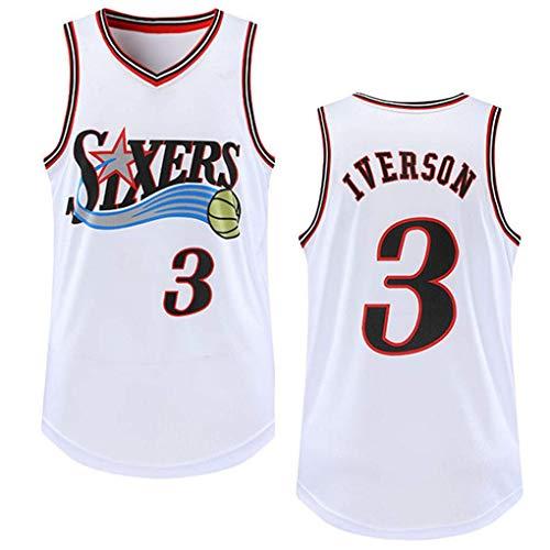 Genrics Basketball Trikot- Philadelphia 76ers # 3 Retro Basketball Swingman Edition Mesh Jersey Sportweste Top Ärmelloses T-Shirt (GRÖSSE: S-XXL)