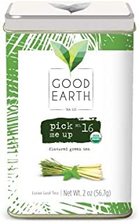 Good Earth Tea Pick Me Up - Premium Organic Loose Leaf Tea - Strong, aromatic green tea with savory lemongrass flavor, peppermint freshness, and notes of spice - 2 oz