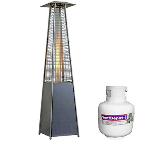 Vendemos Calefactor de Jardin, ObeliskWarm, MXOWM-002, 32500BTUs, c/tanque, Gas LP, Alcance 6 a 8mØ, Acero Inoxidable