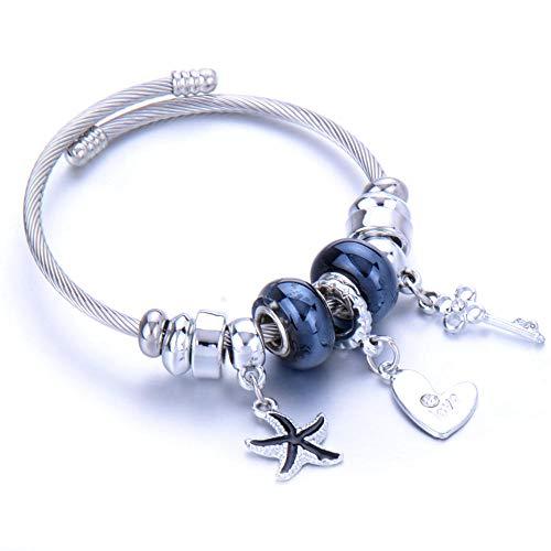 Pulseras Brazalete Joyería Mujer Charm Bracelet Crystal Bead Acero Inoxidable Apertura Ajustable Brazalete Pulsera Joyería Señora Jewelry-29