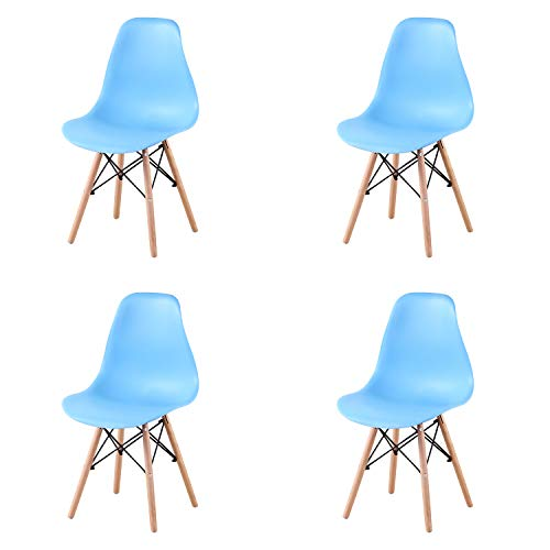 4 Piezas de Estilo Moderno de Mediados de Siglo, Cocina de plástico, Comedor, Sala de Estar, salón con Patas de Madera Maciza Natural y Alambre de Metal (Blue)