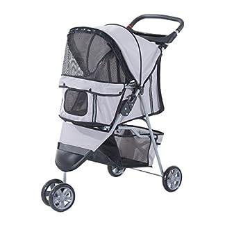 PawHut Pet Travel Stroller Cat Dog Pushchair Trolley Puppy Jogger Carrier Three Wheels (Gray) 22