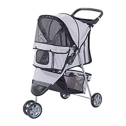 PawHut Pet Travel Stroller Cat Dog Pushchair Trolley Puppy Jogger Carrier Three Wheels (Gray) 1