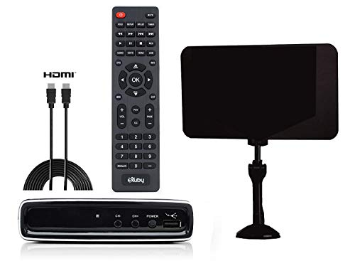 Exuby Digital Converter Box for TV w/Antenna, HDMI & RCA Cable for Recording & Watching Full HD Digital Channels - Instant & Scheduled Recording, 1080P, HDMI Output, 7 Day Program Guide & LCD Screen