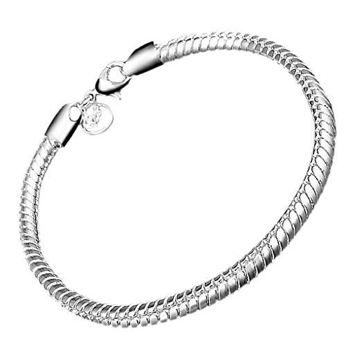 Qinghengyong Unisex Cadena de la Serpiente 925 Cadena de Plata Pulsera de la Serpiente Plateado Alrededor de la muñeca Simple Cadena de joyería de Regalo