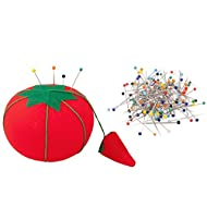 Classic Set, 150 Premium Glass Head Multicolor Sewing Pins with Original Classic Tomato Pin Cushion. Premium Quality.