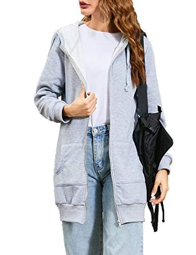 Zeagoo Women Winter Casual Zipper Hoodies Sweatshirt Coat With Fleece,Gray,Large