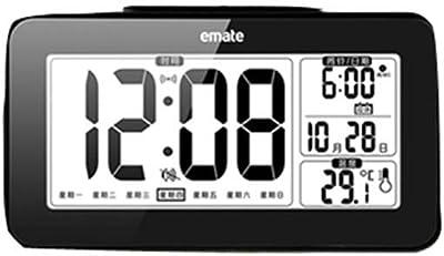 YUCH LCD Reloj Digital con Alarma Reloj Electrónico Temperatura Fecha Reloj, Negro