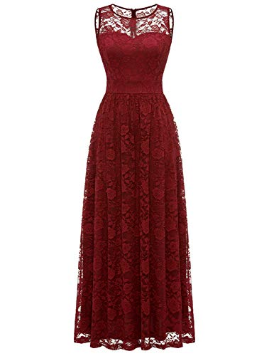 WedTrend Damen Spitzen Lange Brautjungfer Kleid Abendkleid Party Ärmellos Cocktailkleid EWTL10007B-DarkRedM