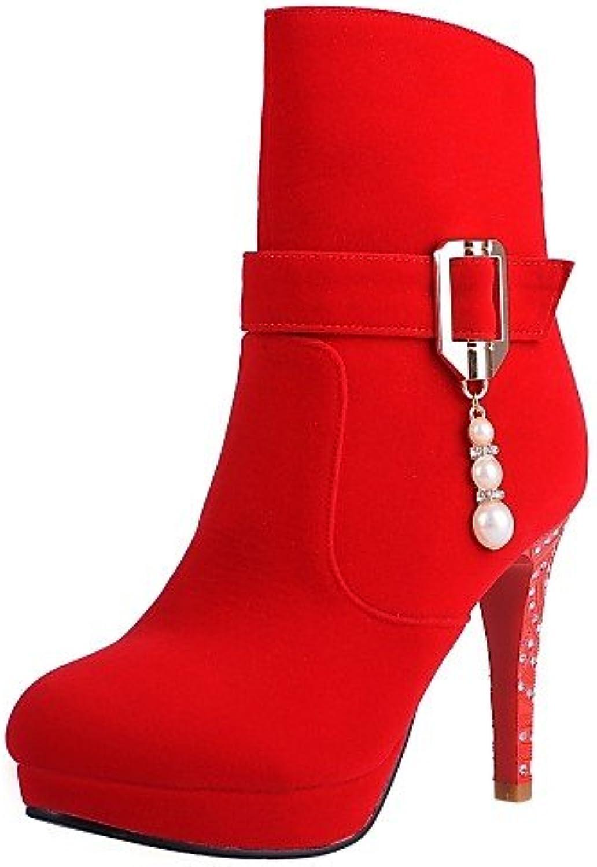 XZZ  Damenschuhe - Stiefel - Kleid   Lssig - Vlies - Stckelabsatz - Rundeschuh   Modische Stiefel - Schwarz   Rot