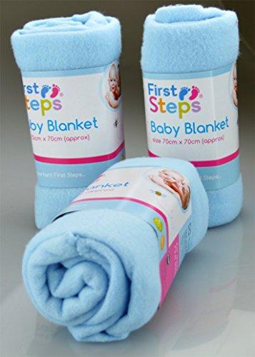 First Steps Lot de 2 couvertures en polaire pour bébé Idéales pour berceau, poussette, couffin ou lit 70 x 70 cm