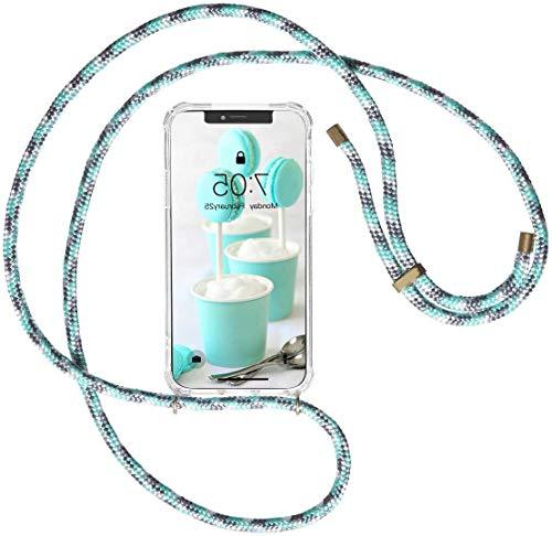 Oihxse Funda con Cuerda Compatible con Samsung Galaxy S10 5G Carcasa Silicona Transparente TPU Suave Case Anticolisión de 4 Esquinas Anti-Choque Cover de Movil con Correa Colgante,Verde