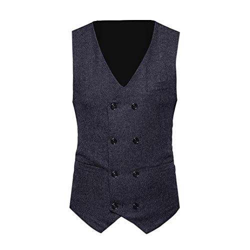 TWGONE Men Formal Tweed Check Double Breasted Waistcoat Retro Slim Fit Suit Jacket BK/M(Medium,Black)