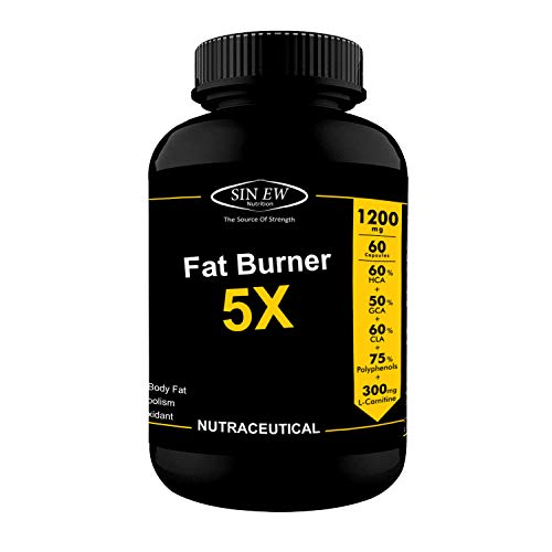 Sinew Nutrition Natural Fat Burner 5X With Green Tea, L-Carnitine, CLA, Green Coffee Bean & Garcinia Cambogia Extract,1200 mg, 60 Servings