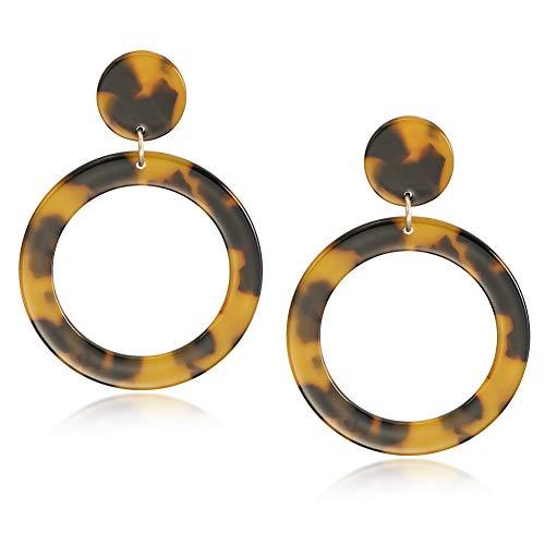 wowshow Acrylic Resin Drop Dangle Earrings Leopard Tortoise Shell Lucite Acetate Mottled Hoop Earrings for Women