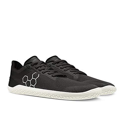 Vivobarefoot Geo Racer, Womens Vegan, Ultra-Light, Ultra-Lean Sneakers with Barefoot Sole Obsidian/White
