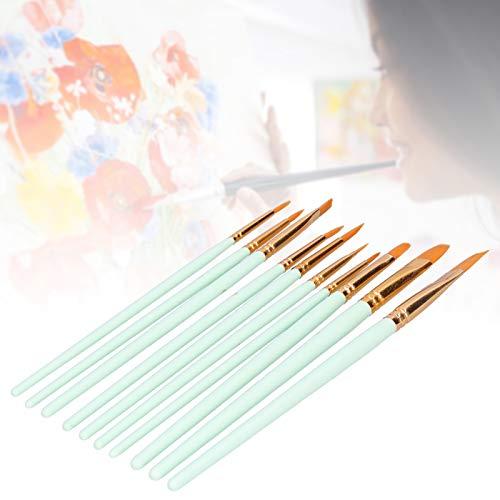 Pinceles para pintar, juego de pinceles duraderos para gouache para acrílico para acuarela para pintura al óleo(101G -10 mint green long, blue)
