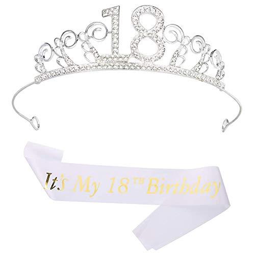 Trademark Un Pezzo 18 Compleanno Corona, 18a Corona di Cristallo, 18 Compleanno Glitter Bianca, per Feste di Compleanno o Un Fantastico Regalo del 18 Compleanno