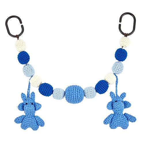 lovely lemon Kinderwagenkette aus gehäkelter Baumwolle in Blau | Für Mädchen & Jungen | Geschenk zur Geburt & Taufe | Giraffen Motiv | Geeignet als Babybettkette | Länge 40cm