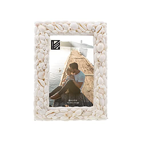 Li'Shay Photo Frame Beach Theme Seashell Covered Real Shell Picture Frame-Ivory