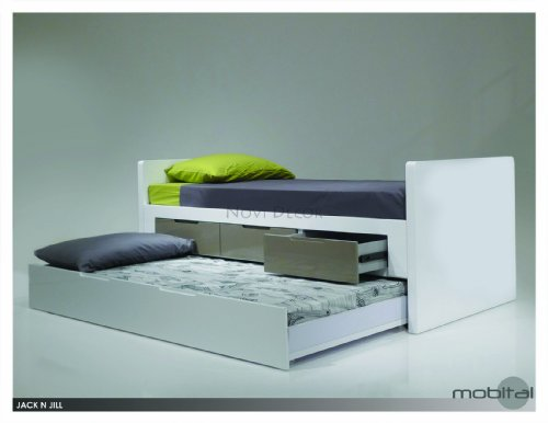 Read About Mobital Jack N Jill Single Trundle Bed in High Gloss White