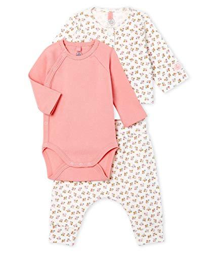 Petit Bateau Baby-Mädchen Ensemble 3 Pieces_5014301 Bekleidungsset, Mehrfarbig (Marshmallow/Multico 01), 56 (Herstellergröße: 1M/54cm)