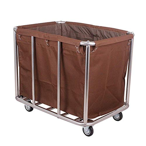 XYQB Schwerlast-Sortierwagen, Edelstahlregallager, Rollwagen, rollbarer Wäschekorb mit herausnehmbarem Beutel, Waschmaschine (Farbe: beige)