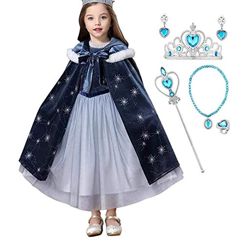 Kosplay Nias Cosplay Vestido de Princesa Elsa con Capa Vestido de Frozen Manga Larga Vestido Largo Disfraz Azul Disfraz Ceremonia de Fiesta Halloween Navidad 110-150cm