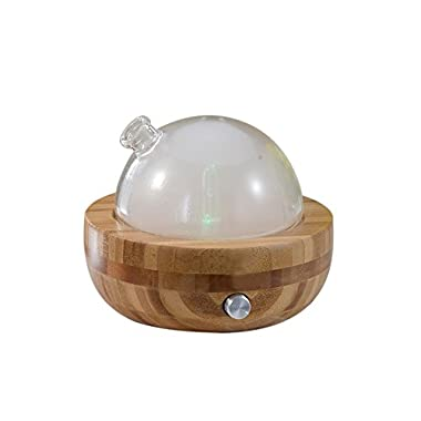 Bamboo and Glass Essential Oil Aroma Nebulizing Diffuser, Aromatherapy Diffuser with LED Night Light No Heat Water for Spa Home Office Bedroom