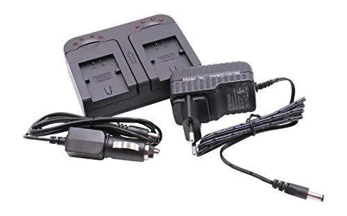 vhbw caricabatterie duale compatibile con Sony Handycam HDR-CX6(EK), HDR-CX625 camera - Stazione di ricarica + adattatore da auto
