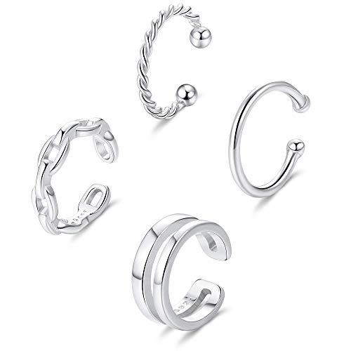 Milacolato 4Pcs Plata de Ley 925 Ear Cuff Aro de Cartílago Pequeño Anillo de Nariz de Labio Ajustable Joyería de Moda para Mujeres Pendientes Sin Piercing
