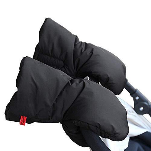 TBoonor Kinderwagen Handschuhe Handwärmer Kinderwagenmuff Funktions-Handmuff mit Fleece Innenseite, Universalgröße für Kinderwagen, Buggy, Jogger, Radanhänger (Schwarz)
