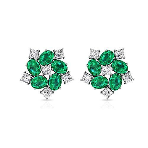 Pendientes de esmeralda y diamantes de 3 quilates, pendientes florales para mujer, pendientes de cúmulo de oro, 18K Oro blanco, Par