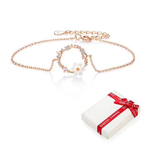 Pulsera de flores de oro rosa de plata 925 con flores para niñas adolescentes mujeres dijes de circonita, pulsera de la suerte delicadas ajustables, pulseras regalos para bodas cumpleaños Navidad