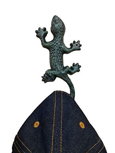 Gecko-Haken aus Gusseisen, für Mäntel, Schlüssel, Handtücher, Hüte, rostfrei, Grün, 1 Stück