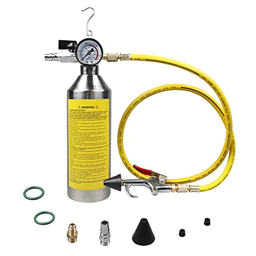 AC Flush Kit Safe Pressure Regulating&Relief Valve AC Cleaner Real-time Monitoring Pressure Gauge AC Cleaning Kit with Spray Gun&Hook&3.5FT Hose&Fittings for Air Conditioner Pipe,Condenser, Evaporator