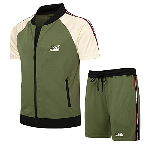 LBL Men's Casual Tracksuit Short Sleeve Running Athletic Sports Jacket and Shorts Suit Set Green M