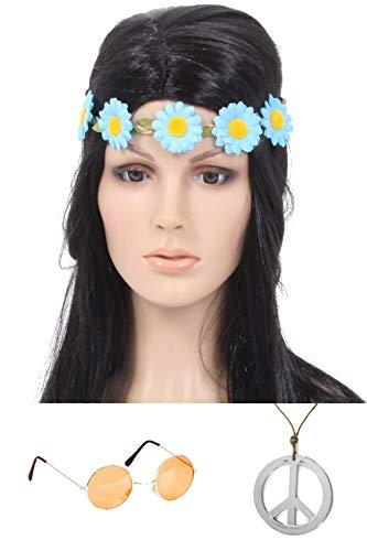 Marco Porta Juego de accesorios para disfraz de hippie (diadema azul, gafas naranja)