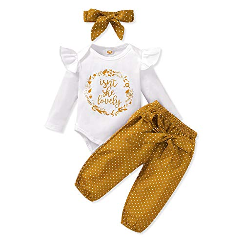 Renotemy Newborn Girl Clothes Outfits Ruffle Long Sleeve Tops + Floral Pants Sets Spring Fall Winter Baby Girl Clothes 3-6 Months