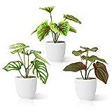 Kazeila Plantas Artificiales Decoracion 15 cm Planta Artificial Pequeña en Macetas Plastico para de la Casa Cocinas Oficinas Interior y Exterior(3Pcs)