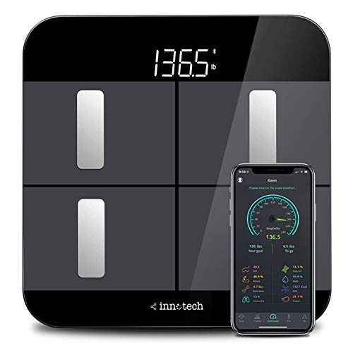 Innotech Body Fat Scale Smart Bluetooth Digital Bathroom Scales for Weight and Body Composition BMI Analyzer with Free APP, Works with Fitbit, Apple Health & Google Fit