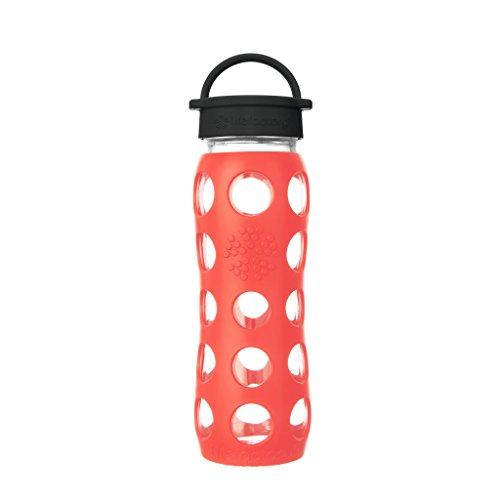 Lifefactory Glas Trinkflasche mit Silikon-Schutzhülle, BPA-frei, auslaufsicher, spülmaschinenfest, 650ml, mohnrot