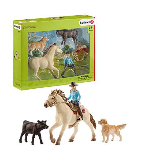 Schleich 42419 Farm World play set - monta vaquera, juguetes a partir de 3 años